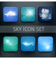Set of modern realistic icons with sun and clouds vector image vector image
