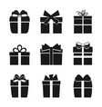 set of nine black silhouettes of gift boxes vector image