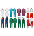 set of overalls with worker and medical clothes vector image