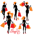 Set of Shopping woman silhouettes isolated on whit vector image