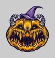 spooky creepy halloween pumpkin with hat vector image vector image