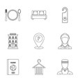Staying in hotel icons set outline style vector image vector image