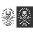 vintage monochrome demon skull print vector image vector image