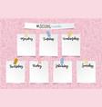 weekly school planner template for girls vector image vector image