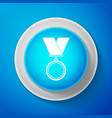 white medal icon on blue background winner simbol vector image