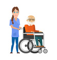 Young nurse pushing wheelchair with disabled old vector image vector image