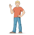 Young man in shirt and jeans waving vector image