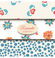 3 romantic seamless patterns pink blue vector image vector image
