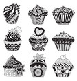 9 cupcakes vector image vector image