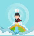 a happy face superhero businessman on skystartup vector image