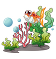 A smiling fish near the corals vector image vector image