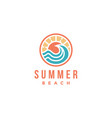 abstract summer beach sun and blue wave logo icon vector image