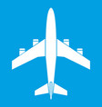 airplane icon white vector image