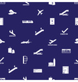 airport icons blue and white seamless pattern vector image vector image