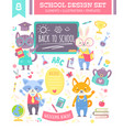 back to school design set with animals vector image vector image