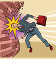 businessman breaks the wall with his head vector image
