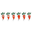 carrot set of funny smiles collection of vegetabl vector image