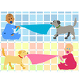 Cartoon baby with dog pulling blanket vector image