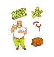 cartoon beer lover and symbols set vector image vector image