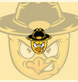 cartoon sheriff chicken mascot logo vector image vector image