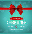 christmas card with red bow vector image vector image
