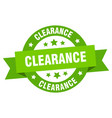 clearance ribbon clearance round green sign vector image vector image