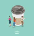 coffee break flat isometric concept vector image vector image