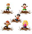 collection of kids playing vector image