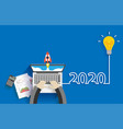 creative light bulb idea 2020 new year business vector image vector image