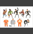 criminals and convicts funny characters set vector image vector image
