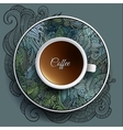cup coffee and floral ornament vector image