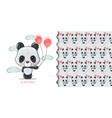 cute cartoon panda isolated on a white background vector image vector image