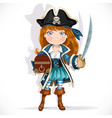 cute little pirate girl with cutlass and treasure vector image vector image