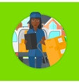 Delivery woman with cardboard boxes vector image vector image