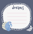dreams list blank template hand drawn doodle vector image vector image