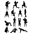 Dumbbell Exercises Silhouettes vector image vector image