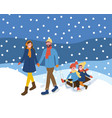 family walking with sleigh snowing outdoor vector image vector image