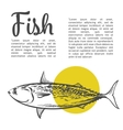 Fish with a yellow spot and lettering inscription vector image vector image
