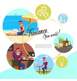 flat freelance round concept vector image vector image