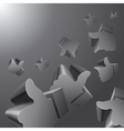 Flying 3d Like symbols on grey background vector image vector image