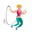 girl doing jump rope exercises vector image vector image