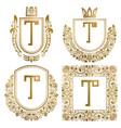 golden vintage monograms set heraldic logos t vector image vector image