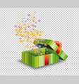 green gift box and confetti isolated on vector image