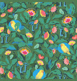 green pattern with flower and bird vector image