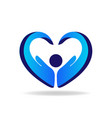hands protection blue heart shape logo vector image vector image