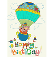 Happy birthday colorful background with funny vector image vector image