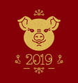 happy new year card - 2019 year of the pig vector image vector image
