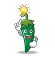 have an idea green chili character cartoon vector image vector image