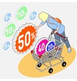 isometric grocery shopping - sale - girl vector image vector image
