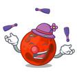 juggling mars planet mascot cartoon vector image vector image